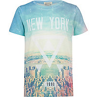 Boys blue New York triangle print t-shirt