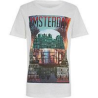 Boys white Amsterdam festival print t-shirt