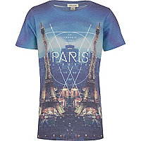 Boys blue Paris mirror print t-shirt