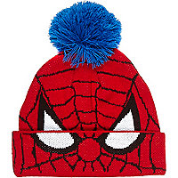 Boys red spiderman beanie hat