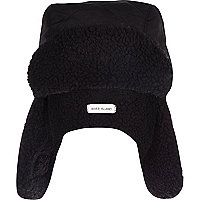 Boys black borg lined trapper hat