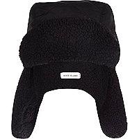 Boys black borg lined trapper hat