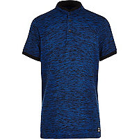 Boys navy flecked grandad polo shirt