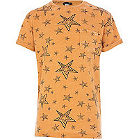 Boys orange sketch star burnout t-shirt