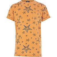Boys orange sketch star burnout t-shirt