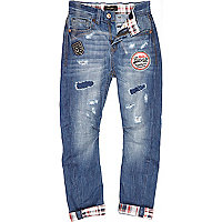 Boys blue tartan slim chester jeans