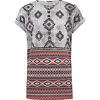 Boys grey aztec print t-shirt