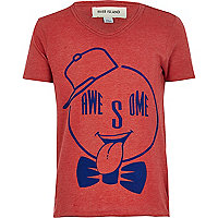 Boys red awesome print t-shirt