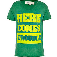 Boys green here comes trouble print t-shirt