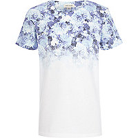 Boys white floral fade t-shirt