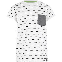 Boys white moustache print t-shirt