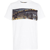 Boys white city print t-shirt