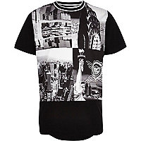 Boys black NYC photo print t-shirt
