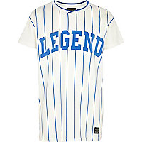 Boys white stripped baseball legend t-shirt