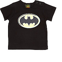 Mini boys black Batman print t-shirt