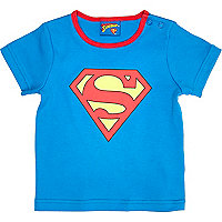 Mini boys blue superbaby print t-shirt