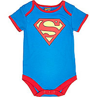 Mini boys blue superbaby print bodysuit