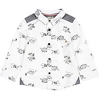 Mini boys white dinosaur long sleeve shirt