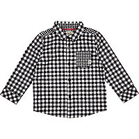 Mini boys black check shirt