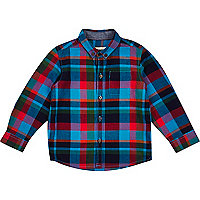 Mini boys blue and red check shirt