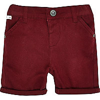 Mini boys red chino shorts