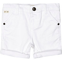 Mini boys white chino shorts