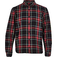 Boys black tartan check shirt