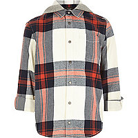 Boys cream check hooded shirt