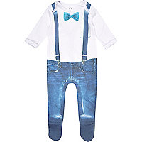 Mini boys white dress up sleepsuit