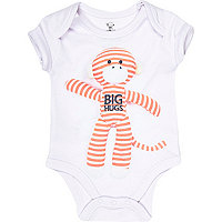 Mini boys white monkey hugs bodysuit
