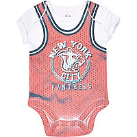 Mini boys red basketball print bodysuit