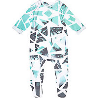 Mini boys green geo palm print sleepsuit