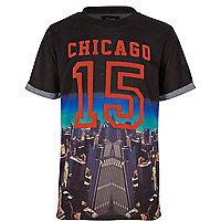 Boys black Chicago print t-shirt