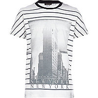 Boys white New York stripe print t-shirt