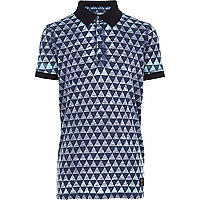 Boys blue geo print burnout polo shirt