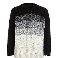 Boys grey stripe cable knit jumper