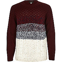 Boys red stripe cable knit jumper