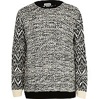 Boys black and white knit jumper