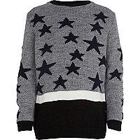Boys grey fluffy star jumper