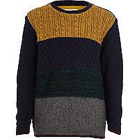 Boys navy block knit cable jumper