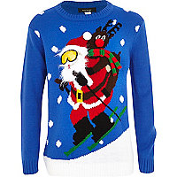 Boys blue skiing santa Christmas jumper