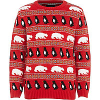 Boys red polar bear jumper