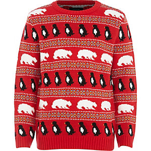 Boys red christmas polar bear jumper
