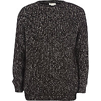 Boys black fluffy grunge knit jumper