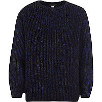 Boys blue grunge fluffy knit jumper