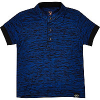 Mini boys blue flecked grandad polo shirt