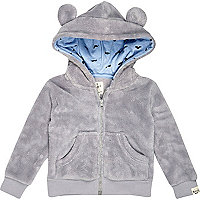 Mini boys grey fluffy hoody