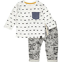 Mini boys white moustache t-shirt and jogger
