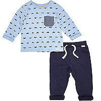Mini boys blue moustache t-shirt and joggers