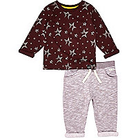 Mini boys red star print t-shirt and joggers
